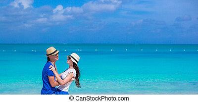 para, plaża, szczęśliwy