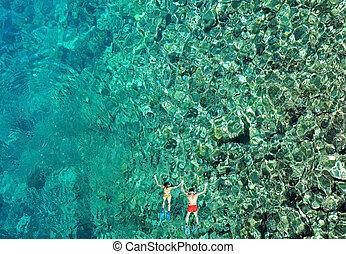 para, prospekt, antena, snorkeling, morze