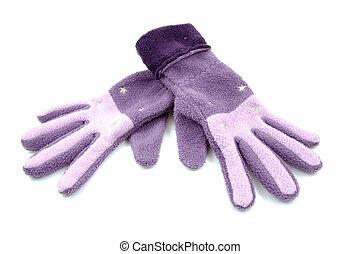 para, purpurowy, rękawiczki