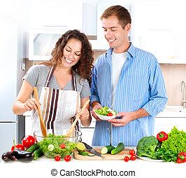 para, roślina, młody, razem, sałata, gotowanie