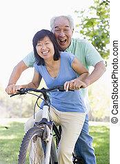 para, rower, riding., dojrzały