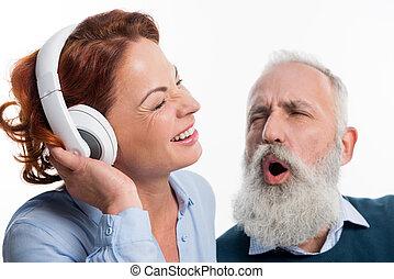 para, słuchawki, dojrzały