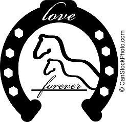 para sempre, amor, cavalo, ilustração, isolado, experiência., vetorial, sapato, branca, ícone