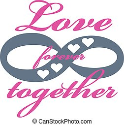 para sempre, amor, illustration., isolado, experiência., vetorial, branca, ícone