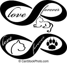 para sempre, amor, isolado, gato, fundo, branca, ícone