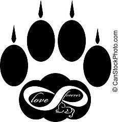 para sempre, amor, pata, isolado, gato, experiência., branca, ícone