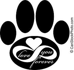 para sempre, amor, pata, isolado, ilustração, cão, experiência., vetorial, branca, ícone