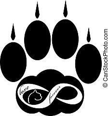 para sempre, amor, pata, isolado, ilustração, gato, experiência., vetorial, branca, ícone