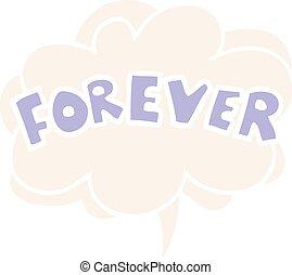 para sempre, palavra, estilo, fala, retro, bolha, caricatura