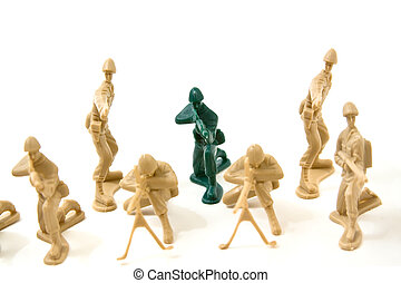 para, ser, diferente, conceito, -, plástico, exército, homens