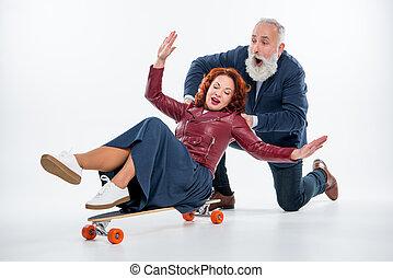 para, skateboard, dojrzały