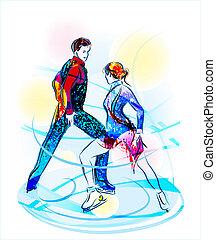 para, skating., figura, lód, pokaz