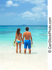 para, snorkeling, młody, razem