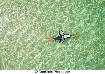 para, snorkeling, morze, romantyk, miodowy miesiąc