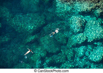 para, snorkeling, morze