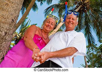 para, snorkeling przybory, dojrzały, szczęśliwy