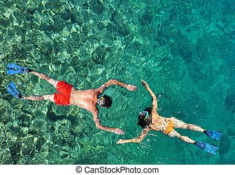 para, snorkeling, romantyk, morze