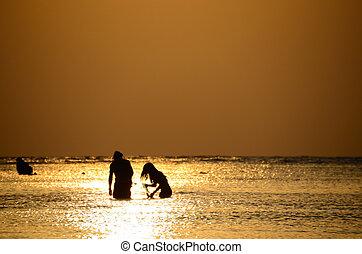 para, snorkeling, wschód słońca