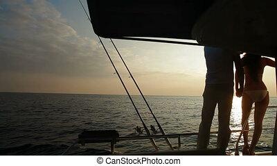 para, sylwetka, na, jacht