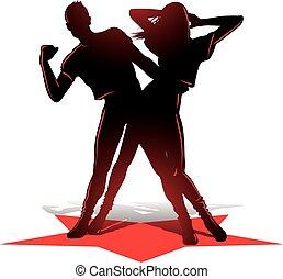 para, sylwetka, taniec