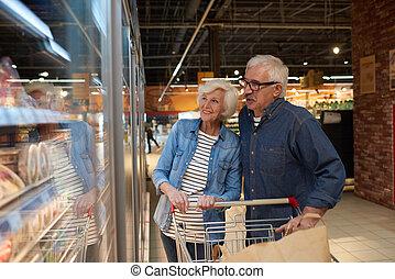 para, szczęśliwy, sopping, senior, sklep spożywczy, cieszący się