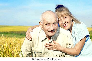para, szczęśliwy, starszy, outdoors