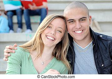 para, szczęśliwy uśmiechnięty, student, campus