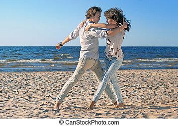 para, tło, młody, morze, taniec