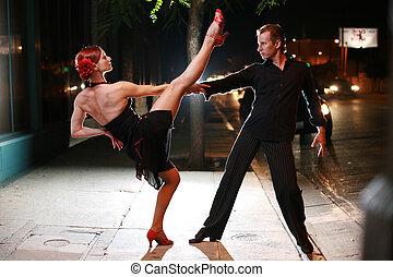 para taniec, na, niejaki, ulica, na, night.