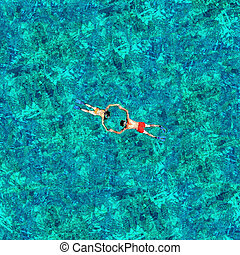 para, truteń, morze, water., snorkeling, prospekt