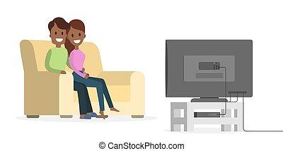 para, tv., oglądając