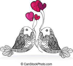 para, valentine, miłość, odizolowany, ptak