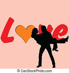 para, wektor, miłość, ilustracja