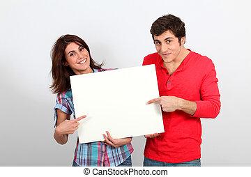 para, whiteboard, patrzeć, dzierżawa, szczęśliwy