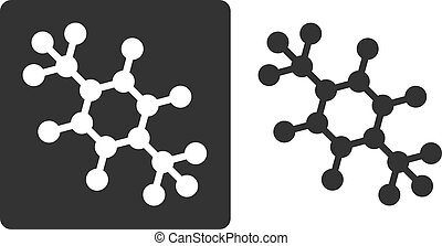 Para-xylene molecule, flat icon style. Carbon and hydrogen atoms shown as circles.