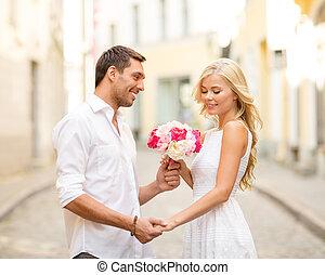 para, z, kwiaty, w mieście