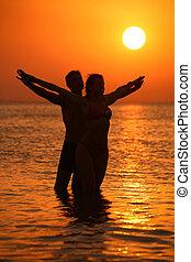 para zachód słońca, skrzydełka, morze, siła robocza