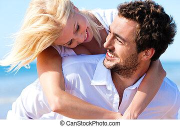 para, zakochany, na, lato, plaża