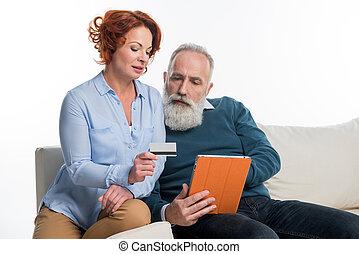 para, zakupy, dojrzały, online