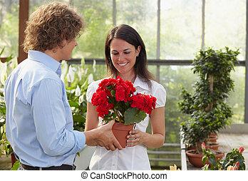 para, zakupy, w, ogrodowy środek