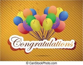 parabéns, balloon, ilustração, card.