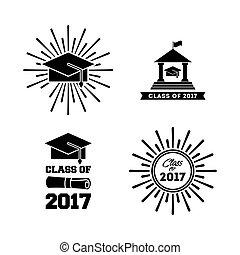 parabéns, classe, de, 2017, cartão