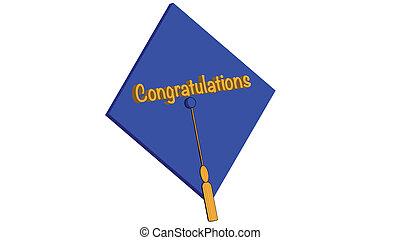 parabéns, grad, azul