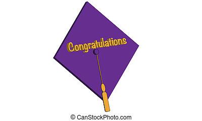 parabéns, grad, roxo