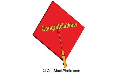 parabéns, grad, vermelho