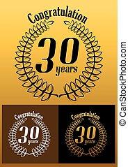 parabéns, grinalda, ano, aniversário, 30