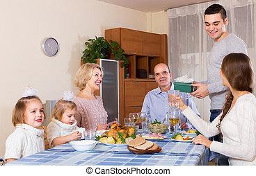 parabéns, heartily, família, casa