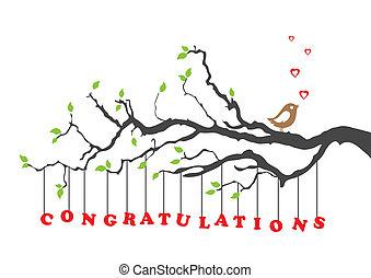 parabéns, pássaro, cartão