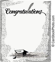parabéns, texto, com, pena