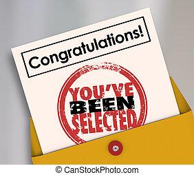 parabéns, you've, sido, selecionado, selo, oficial, letra